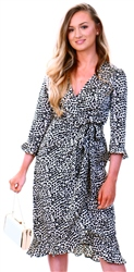 Brave Soul White/Black Leopard Print Wrap Dress
