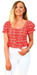 Qed Red/Daisy Print Puff Sleeve Top