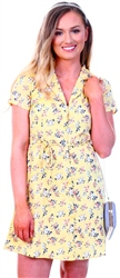 Yellow Floral Print Mini Dress by Qed