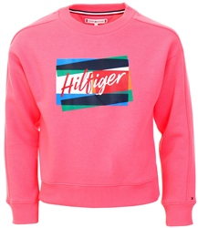 Tommy Jeans Pink Signature Logo Crew Neck Sweatshirt