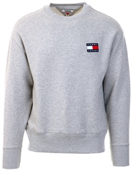 Tommy Jeans Lt Grey Heather Badge Crew Neck Sweatshirt