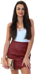 Only Fired Brick Mille Faux Leather Skirt