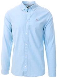 Tommy Jeans Shoreside Blue Stretch Cotton Slim Fit Shirt