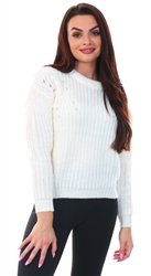 Cream Crew Neck Knit Jumper by Brave Soul