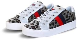 Leopard Glitter Panel Lace Up Trainer by Lloyd & Pryce