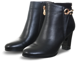 Zanni Black Zip Up Gold Detail Boot