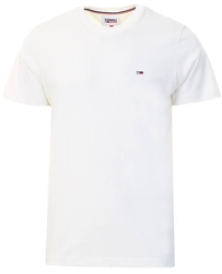 White Classic Organic Cotton Crew Neck T-Shirt by Tommy Jeans
