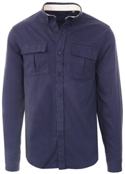 Brave Soul Rich Navy Long Sleeve Button Shirt
