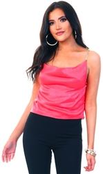 Saint Genies Coral Diamante Strappy Silky Top