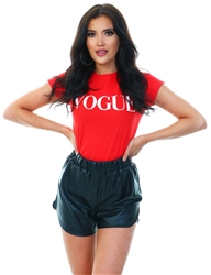 Red Vogue Printed Tee by Missi London
