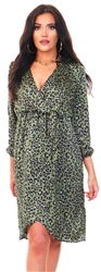 Ax Paris Khaki Leopard Print Wrap Midi Dress