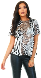 Girl In Mind Zebra Imogen Angel Sleeve Peplum Top