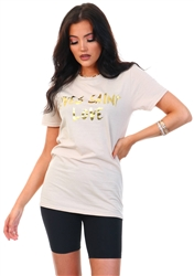 Gold Yves Saint Love Print T-Shirt by Missi London