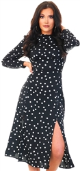 Black Long Sleeve Split Leg Midi Polka Dot Dress by Girl In Mind