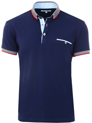 Ottomoda Navy Short Sleeve Polo Shirt