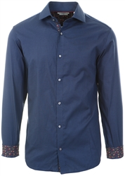 Jack & Jones Blue/Navy Blazer Slim Fit Dobby Long Sleeve Shirt