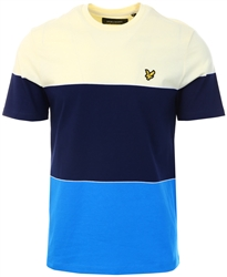 Lyle & Scott Bright Royal Blue/Buttercream/Navy Multi Stripe Tee