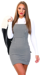 I Saw It First Dogtooth Crepe Dogtooth Pinafore