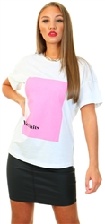 Noisy May White/Pink Wendy Short Sleeve Top