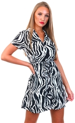 Qed Black/White Zebra Shirt Dress