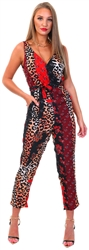 Girl In Mind Red Leopard Wrap Style Jumpsuit