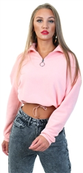 Brave Soul Peachy Pink Mary Zip Fleece