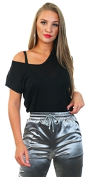 Black Shimmer Loose Short Sleeved Top by Only