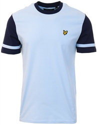 Lyle & Scott Pool Blue Contrast Sleeve Tee