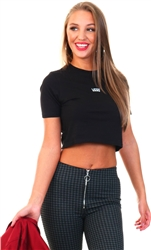 Black Flying V Crop Crew Sport Tee by Vans