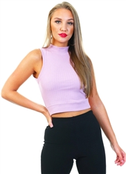 Brave Soul Mauve Rib High Neck