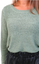 Only Hedge Green Texture Knitted Pullover