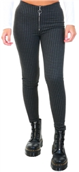 Brave Soul Black/Grey Kelly Checked Trousers