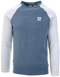 11degrees Navy Marl/Tornado Marl Contrast Sleeve Sweatshirt