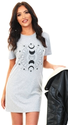 Grey Marl Astrology Tee Dress by Missi London