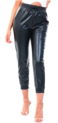 Ax Paris Black Faux Leather Joggers