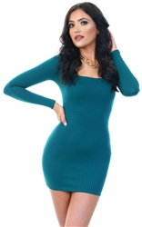 Parisian Teal Long Sleeve Scoop Neck Bodycon Mini Dress