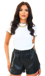 Brave Soul White Claudine Leopard Contrast Tee