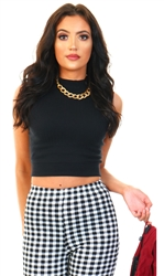 Brave Soul Black Ribbed Crop Vest