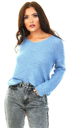 Jdy Silver Lake Blue New Megan Knit Pullover