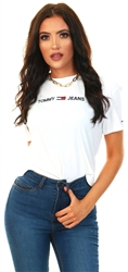 Tommy Jeans White Essential Embroidery Organic Cotton T-Shirt