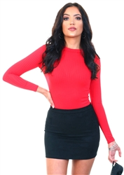 Parisian Red Rib High Neck Bodysuit