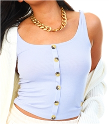 Brave Soul Lilac Ribbed Vest With Buttons