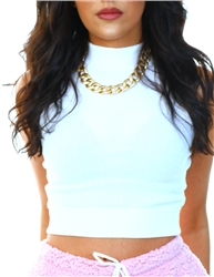 Brave Soul White Ribbed Crop Top