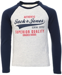 Navy Bleezer Raglan Logo Long Sleeve Tee by Jack & Jones