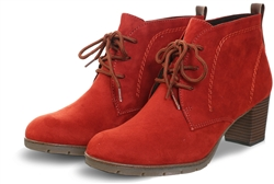 Marco Tozz Burnt Orange Lace Up Ankle Boot