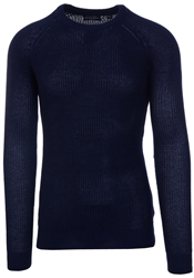 Brave Soul French Navy Recycled Crew Knit Jumper