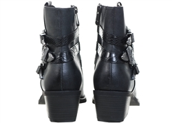 Marco Tozz Distressed Black Western Boots