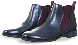 Marco Tozz Navy Flat Slip On Chelsea Boot