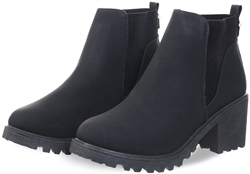 Krush Black Pu Chunky Slip On Heeled Boot