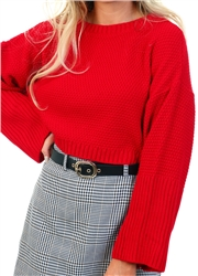 Qed Red Knit Crop Jumper